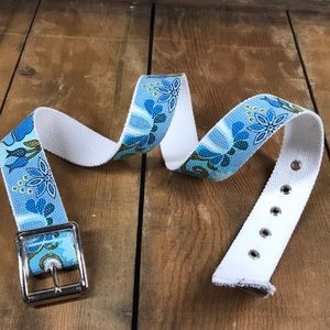 Canvas Belt with Blue Floral Pattern